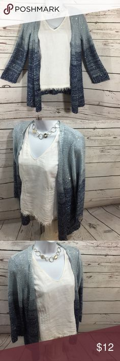NY Collection Cardigan Sweaters Simple Cardigan Sweater with a little bit of BLING! Looks just as good with distressed blue jeans as it does with a dress shirt & slacks! Versatile & of course Blue is so in this season.  In good Preowned condition... Washed and ready to wear.   All purchases are shipped within 24 hours Sunday through Thursday. NY Collection Sweaters Cardigans