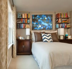 Teen Boy Bedroom Design Ideas, Pictures, Remodel, and Decor - page 18 shelves with nightstands below