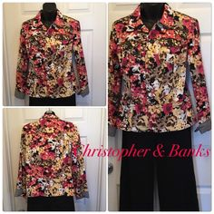 Ready for spring? Try this beautiful jacket Excellent condition. Pretty bright floral pattern.  Cotton/spandex so it has stretch. Lightweight Christopher & Banks Jackets & Coats