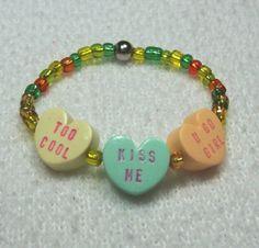 Girls Stretch Bracelet with Valentine Conversation by MyStudio91, $6.00