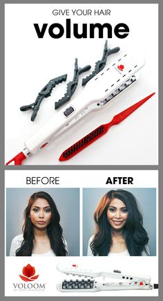 The VOLOOM Volumizing Iron takes flat hair from voluminous in just a few minutes and the volume lasts for days.