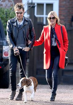 Jamie Hince and wife Kate Moss took their pooch for a walk in London March 1.