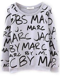 Langarm-Sweatshirt mit schwarzen Buchstaben-Drucken, grau-Sheinside