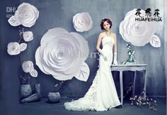 Window display Large paper Flowers Wedding decorations paper art flower oversize paper flowers rose flowers white 12