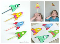 STEM for Kids: Straw Rockets (with Free Rocket Template) - Buggy and Buddy - The Best Space Activities Ideas For Kids Space Crafts For Kids, Crafts For Kids To Make, Space Crafts Preschool, Outer Space Crafts, How To Make, Straw Crafts, Vbs Crafts, Diy Straw, Space Activities