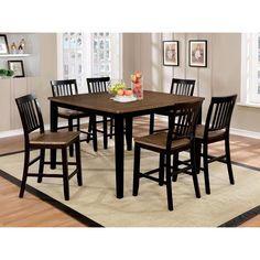 Furniture Of America Fresial 7 Piece Rustic Oak/Espresso Counter Height  Dining Set (