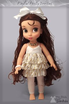 Disney Animator's doll clothes - Party dress - I love white and gold together, they just seem to work. By My Little Wardobe dolls wear. Visit the store here! https://www.etsy.com/nz/shop/MyLittleWardrobeWear