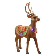 Decorate your home with this Reindeer Decoration with Colored LED Lights. This reindeer is lit with 30 colored LED lights and has on 2 Christmas bells and a colorful blanket. This fun reindeer will add holiday cheer to your home inside or outside. Christmas Store, Christmas Deer, Christmas Holidays, Christmas Things, Happy Holidays, Christmas Crafts, Merry Christmas, Xmas, Reindeer Decorations