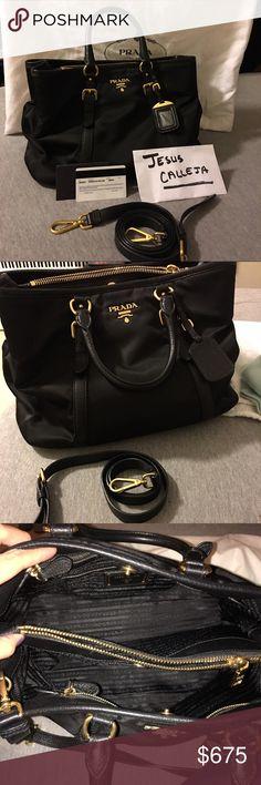 748a455813d701 Authentic Prada bag Black nylon Prada bag with straps! Like new, Prada Bags  Crossbody Bags