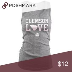 """Clemson Tigers Soffe Gray/Pink """"Clemson Love"""" Tank Brand New With Tags - Officially Collegiate Licensed - Clemson University Tigers Soffe Tops Tank Tops"""