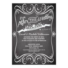 Flowers & Swirls Chalkboard After Wedding Invite