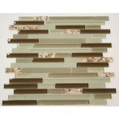 Zen Green Glass Blend & Sea Shell Resin 12x12 Mosaic Tiles. #Zen_series, #Glass_mosaic, #Sea_shell