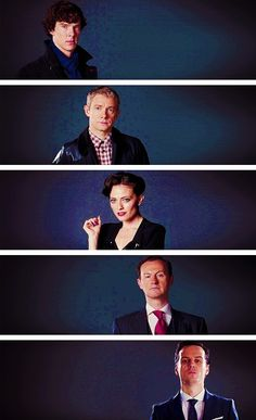Sherlock, John, Irene, Mycroft, Moriarty.  All the best people, but where's Molly and Mrs. Hudson??????????