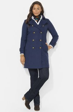 Lauren Ralph Lauren Double Breasted Wool Blend Peacoat