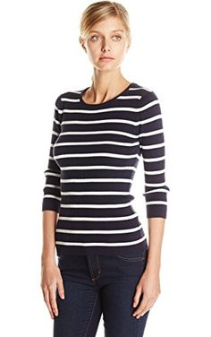 Pendleton Women's Pullover Sweater, Midnight Navy/Ivory Stripe, X-Large ❤ Pendleton Women's Collection