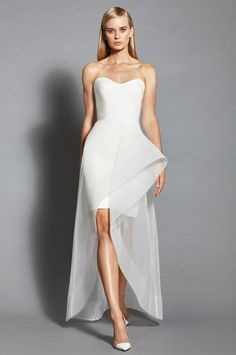 If you're looking to spice up your wedding day by wearing something slightly different from a typical long dress, then check out this list of 10 short wedding dresses for you to walk down the aisle in! Bridal Gowns, Wedding Gowns, Short Dresses, Prom Dresses, Trend Fashion, Fashion Brands, Fashion Outfits, Tea Length Wedding Dress, Peplum Wedding Dress