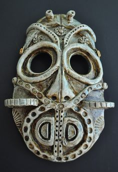 Steampunk man from outerspace ceramic mask $48 https://www.etsy.com/listing/56103228/steampunkman-from-outer-space-ceramic