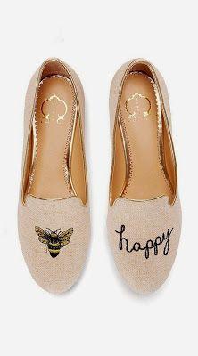 BEE HAPPY // Cute Nude Suede Smoking Slippers Ballet Flats