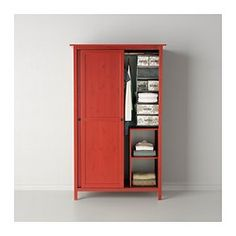 HEMNES Wardrobe with 2 sliding doors - red - IKEA