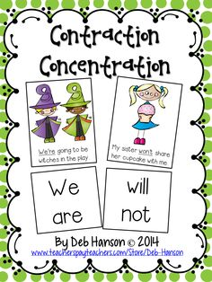 FREE This product contains 26 cards pairs). Students read the sentence and try to find the matching contraction.Copyright by Deb Hanson 2014 2nd Grade Ela, First Grade Reading, Student Reading, Second Grade, Reading Tutoring, Reading Intervention, Grade 2, Contraction Games, Contraction Worksheet