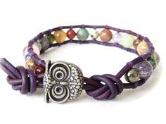 Owl bracelet 'Gemstone surprise', birthday gift idea, leather wrap with gemstone beads, UK jewellery gift for best friend, by MirasBeadBoutique on Etsy https://www.etsy.com/listing/225665029/owl-bracelet-gemstone-surprise-birthday