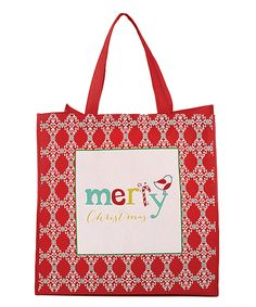 This Red Merry Christmas Reusable Tote Bag - Set of Four by CB Gift is perfect! #zulilyfinds