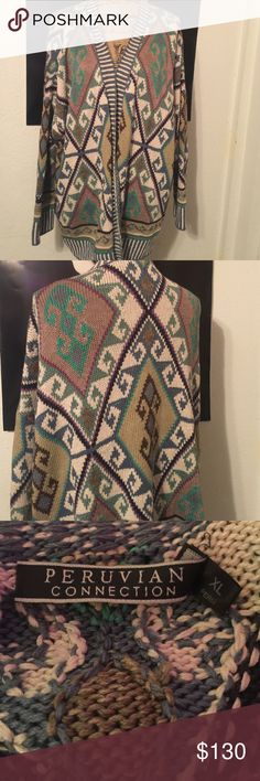 """Peruvian Connection Cardigan EUC in 100% Pima cotton.   This is an extra large it measures 28.5"""" armpit to armpit it measures 27"""" long from collar to hem and the sleeves are 28"""" measured from collar to cuff because of the drapey nature of the sweater. It is infused with turquoise browns slate blues and brick reds in a tribal pattern. This and the other sweater listed in this brand are two of the most well made sweaters I have ever owned Peruvian Connection Sweaters Cardigans"""