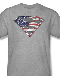 9dcfb108f Icon Superhero Superman logo shield American flag DC Comic Books SM1123 -  T-Shirts,