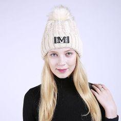 ac9037548820c Stylish Women Knit Caps Winter Pom pom Faux Fur Hat Fleece Knitted Skullies Beanies  Cap Warm Girls Letter Hat Beanies