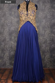 #Blue pretty #floor length #chiffon gown with resham thread work-GW122