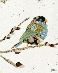 Cafe Swirly Bird Art Print by Jennifer Lambein. Bird Illustration, Illustrations, Bird Quilt, Bird Artwork, Poster Prints, Art Prints, Art Plastique, Fabric Art, Collage Art