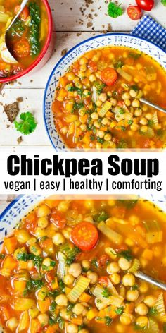 Italienische Kichererbsen Suppe This Italian chickpea soup with spinach, tomatoes and lots of fresh parsley is a great dinner for the whole family. Super tasty, healthy, vegan and quickly prepared! Easy Soup Recipes, Chicken Salad Recipes, Healthy Dinner Recipes, Vegetarian Recipes, Vegan Vegetarian, Vegan Bean Recipes, Vegan Chickpea Recipes, Healthy Desserts, Lunch Recipes
