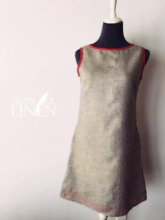 Linen Dress Beige Melange with Hot pink detail at Tropic Of Linen Boutique. TropicOfLinen style