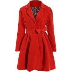 Noble Turn Down Collar Long Sleeve Pure Color Self Tie Belt Women s... (52.370 COP) ❤ liked on Polyvore featuring outerwear, coats, jackets, rosegal, dresses, self tie belt, red coat, tie belt, long sleeve coat and collar coat