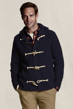 Lands' End Canvas Great Gifts to Give Him -- Fisherman's Rib Toggle Sweater. $150.00.  A sweater with outerwear aspirations, this toggle sweater will keep you warm in style this winter.