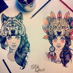 Illustration art girls wolf tattoo feathers leopard spirit hood traditional   - by rik lee drawing idea of girls with wolf and leopard hoods