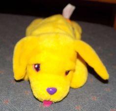 "8"" LISA FRANK Yellow Rainbow PLUSH Beanbag PUPPY DOG Casey  #LisaFrank"