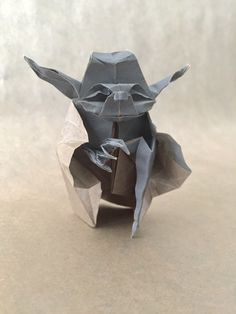 """""""Fossil""""Origami Jedi Master Yoda Designed by Timer Watch, Paper Art, Paper Crafts, Origami Yoda, Paper Folding, Kirigami, Starwars, Quilling, Fossil"""