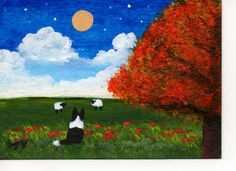 Border Collie Dog ACEO folk Art Painting Original by ToddYoungArt,