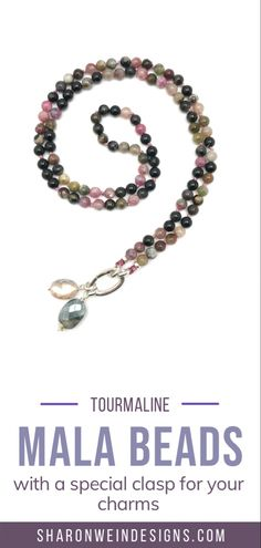 This mala necklace was created with beautiful 6mm Tourmaline beads, ranging in colour from deep purple to light pink. This mala comes with a Crystal Quartz charm like the one pictured (other charms are for show only and can be purchased separately). Semi Precious Beads, Semi Precious Gemstones, Beaded Bracelets, Necklaces, Deep Purple, Silver Charms, Quartz Crystal, Pendants, Colour