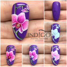 Orchideen Nail Art step by step flower Tutorial Indigo Nails to inspire