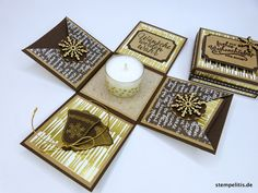 Geschenkverpackungen - Explosionsbox Weihnachten Gold - ein Designerstück von Stempelitis bei DaWanda