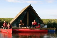 How sweet is this! Camping right on the water; so close you can reach over and dangle your fingers in it. These floating cabins fill the bill. Their base is a raft made from tree trunks, supported by barrels, which should make them fairly stable. #summer #camping
