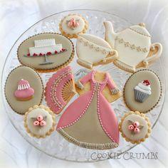 Tea Party Cookies~ By Mintlemonade's Cookies,(Cookie Crumbs) white cake, pink fan, dress, rosebus, cupcake, ivory teacup, teapot