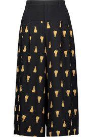 SEALeo cropped printed silk wide-leg pants