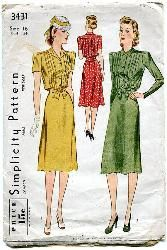 Vintage 40s Day Dress Pattern Tucked Bodice Very Mildred Pierce Bust 34 Simplicity 3431