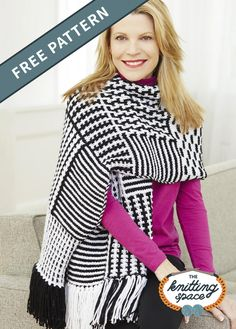 Get the perfect accessory for your winter repertoire and craft this Knit Slip Stitch Graphic Shawl. It's a wonderfully warm and beautifully designed piece that's sure to keep you extra cozy all day long. It's easy to knit, too! | Discover over 5,500 free knitting patterns at theknittingspace.com Winter Knitting Patterns, Free Knitting, Knitting Socks, Easy Knitting Projects, Knitting For Beginners, Lion Brand Yarn, Knitting Accessories, Slip Stitch, It's Easy