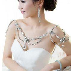 Wedding-Bridal-Silver-Crystal-Flower-Shoulder-Body-Chain-Tassel-Necklace-Jewelry
