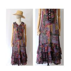 1970 Claude Barthelemy Paris voile  maxi floral dress  / 70s Long  ruffled Dress/ vintage maxi dress