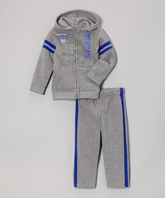 Another great find on #zulily! Heather Gray Zip-Up Hoodie & Track Pants - Toddler by American Hawk #zulilyfinds